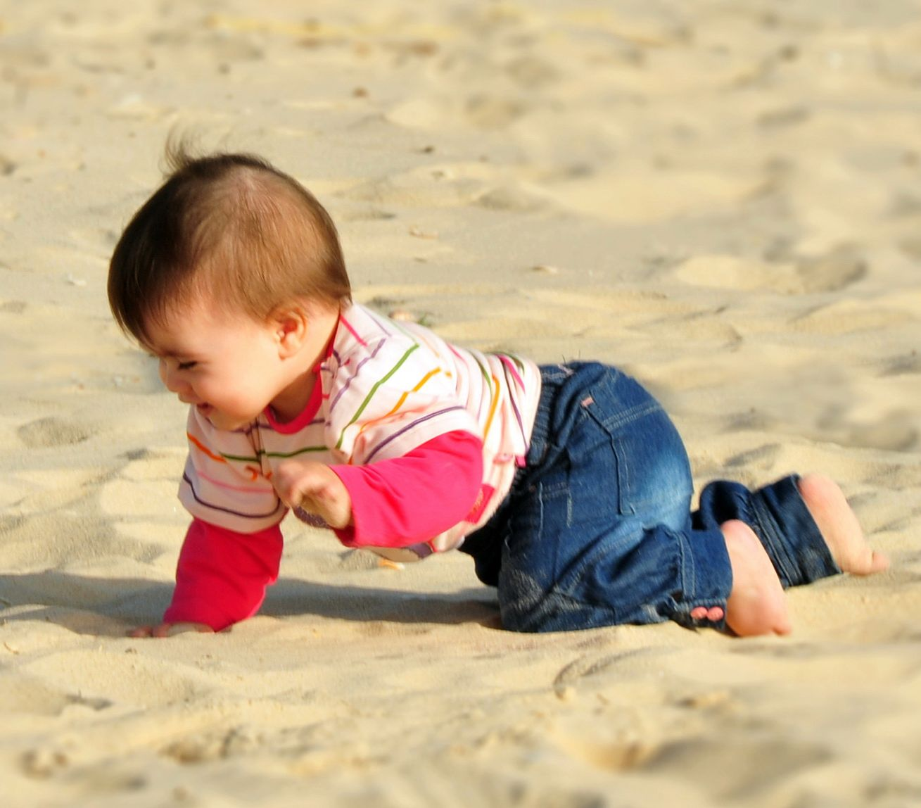 A baby crowl on a sandy beach.